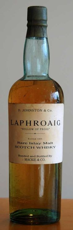 "Laphroaig 1903, Mackie & Co ""Valley of Proig"" -,See Second Page- Great Article -  distillery bottling.  http://www.finestandrarest.com/images/Laphroaig-1903-24KB.jpg"