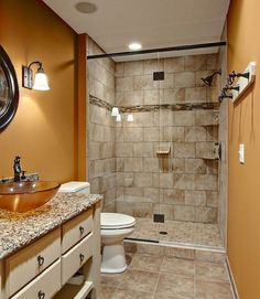 bathroom comely brick wall for small bathroom walk in shower design with circle mirror above lovely navity inside white toilet on tile floor chic small