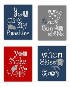Elephant art Prints, You are my sunshine Navy Blue Red and Gray Art Prints. Playroom, Nursery, or Toddler room Art prints.