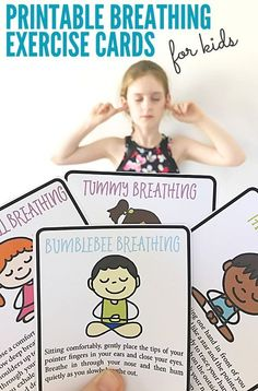 Great for de-stressing, re-charging and re-focusing, these 8 breathing exercises work well as calm down techniques, mindfulness or relaxation exercises, and as brain breaks. Mindfulness For Kids, Mindfulness Activities, Yoga For Kids, Exercise For Kids, Card Workout, Calming Activities, Educational Activities, Easter Activities, Group Activities