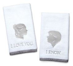 Star Wars Han and Leia Hand Towels New I Love You / I Know set of hand towels A ThinkGeek creation and exclusive! Officially-licensed Star Wars merchandise Embroidery done in silvery-grey thread Grey