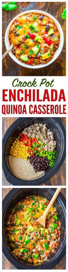 Super easy and DELICIOUS Crock Pot Mexican Casserole with quinoa, black beans, and chicken or turkey. Healthy comfort food, gluten free, and our whole family LOVES it! Chicken Quinoa Recipes, Recipes With Beans Healthy, Healthy Crock Pot Meals, Healthy Turkey Recipes, Casseroles Healthy, Crockpot Ground Turkey Recipes, Vegetarian Slow Cooker Meals, Ground Turkey Slow Cooker, Quinoa Dinner Recipes