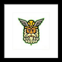 Mascot Framed Print featuring the digital art Odin Norse God Mascot by Aloysius Patrimonio Hanging Wire, Retro Fashion, Fine Art America, Digital Art, Framed Prints, God, Artwork, Dios, Work Of Art
