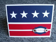handmade Memoriall Day card  ... patriotic red, white and blue ... strong lines ... stars and stripes ... like it!!