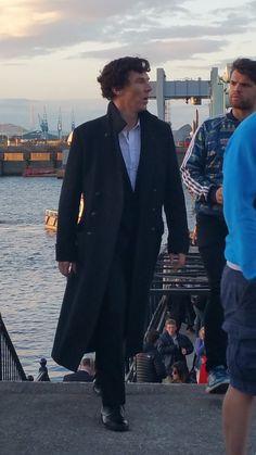 Benedict Cumberbatch filming Season 4 of Sherlock in Cardiff - 13.07.2016 #setlock