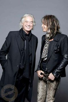 Mr. Page and Mr. Tyler, who's wearing custom Junker leather pants, shot by Ross Halfin.