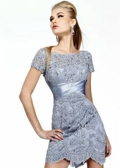 Ruched Empire Waist Sherri Hill Grey Beaded Lace Cocktail Dress