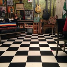 """set of Rhett and Link's Good Mythical Morning show...""""I think I am in love with checkered board flooring... Totally going to have a room in my house with flooring like this..."""""""