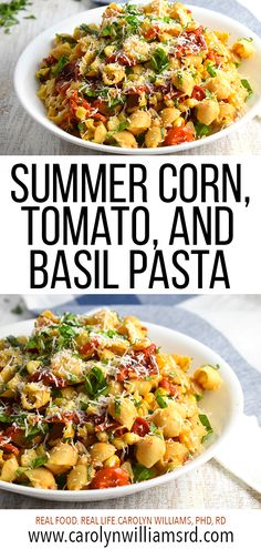 What do you do with an overload of summer tomatoes, shucked corn, and fresh basil? Create a new dish using them, and today, I was craving pasta! You'll love this new gluten-free pasta I ran across recently at the grocery store! Fresh Basil Recipes, Summer Pasta Dishes, Summertime Salads, Corn Pasta, Tomato Basil Pasta, Real Food Recipes, Healthy Recipes, Quick Vegetarian Meals, Pasta Salad Recipes