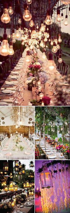 Decoraciones colgantes para boda con velas, farolillos y guirnaldas de luces