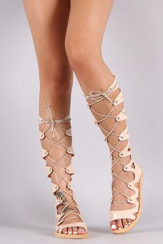 Strappy Gladiator Lace-Up Jelly Flat Sandal