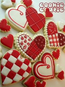 Red hearts.         Cookie Crazie  Red white checkered, quilt