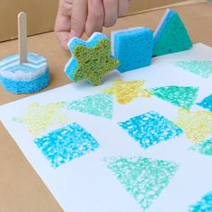 Reposted from - ⭐️DIY SPONGE BRUSHES🔵 Sooo spongy and fun! 🤩 Great way to reuse old sponges♻️. Just soak the sponge in water and put in the microwave for mins, let them dry and you are ready to make some sponge brushes. Preschool Crafts, Diy And Crafts, Crafts For Kids, Arts And Crafts, Montessori Activities, Toddler Activities, Diy Sponges, Painting Activities, Toddler Play