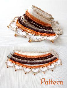 Crochet Pattern Instant Download Wristband Pattern by stasiSpark Bracelet Crochet, Crochet Necklace Pattern, Half Double Crochet, Single Crochet, Pandora Leather Bracelet, Pandora Bracelets, Crochet Stitches, Cross Jewelry, Hand Embroidery