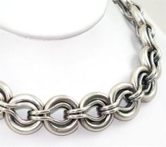 Sterling Silver Heavy Modernist Link Necklace #Chain
