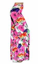 Customize Bright Pink & Orange Bellflowers Floral Slinky Print Plus Size & Supersize Pants, Palazzo's or Skirts Lg to 9x