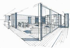 Home Decorators Collection Vanity Interior Architecture Drawing, Architecture Portfolio Layout, Interior Design Sketches, Architecture Details, Perspective Drawing Lessons, Perspective Sketch, House Sketch, Archi Design, Technical Drawing