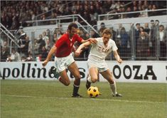 Hungary 0 USSR 1 in 1972 in Brussels. Tibord Fabian and Vladimir Onishchenko vie for the ball in the Semi-Final of Euro European Championships, Semi Final, Brussels, Hungary, Finals, Russia, Soccer, Wrestling, Sports