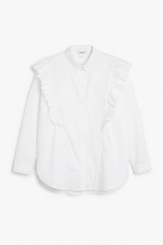 Monki Image 1 of Ruffle button up shirt in White