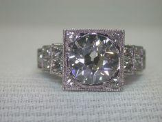 Antique European Diamond Engagement Ring Solitaire Fine Vintage Platinum Estate #Ring