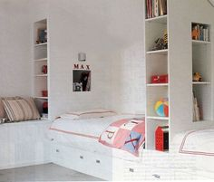 Love these built-in beds and shelves