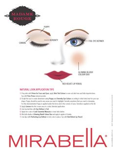 fall 2011 launch - madame rouge collection - natural look.  get the look using canvas, poppy, serenity eye colours, foil eye definer, glowing blush colour duo and limited edition red velvet lip pencil.