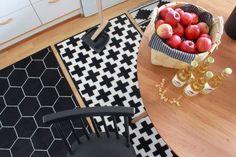 Black and white geometric rugs