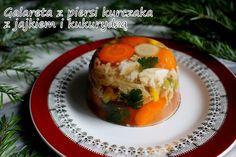 Moje gotowanie i blogowanie: Galareta z piersi kurczaka z jajkiem i kukurydzą Polish Food, Polish Recipes, Medusa, Cos, Baked Potato, Mashed Potatoes, Chicken, Baking, Ethnic Recipes