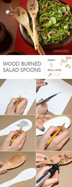 Still need holiday gift ideas? Create and personalize these wood burned salad spoons for that friend who loves to cook.