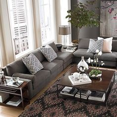 beige walls gray sofa - Google Search