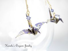 Origami Crane Earrings w/ Plated 14KG Findings & by KumikosOrigami, $18.50