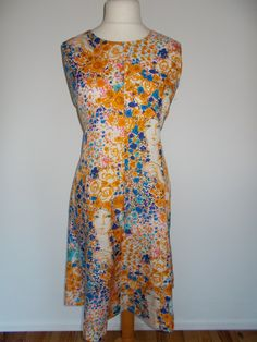 Vintage 60s floral fit and flare silky feel dress size extra large by BidandBertVintage on Etsy