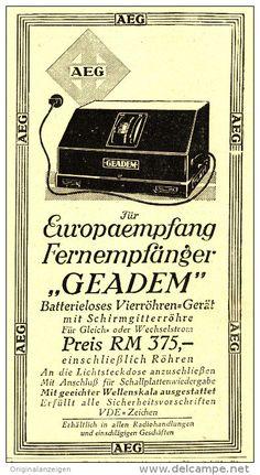 Original-Werbung/Inserat/ Anzeige 1930 - AEG FERNEMPFÄNGER GEADEM - ca.170 x 90 mm