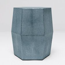 Daryl Stool by Madegoods A perfect stool or accent table! The Daryl uses our dramatic faux fashion shagreen. Hexagonal in shape, the piece has straight sides that elegantly taper near the base. Accent Furniture, Furniture Decor, Painted Furniture, Chair Side Table, Concrete Crafts, Made Goods, Furniture Making, Garden Seats, Accent Tables