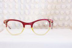 2475101ea4c6 50s Womens Cat Eye Glasses 1950s Eyeglasses Raspberry Clear Split Frame  Gold Flower Metal Applique 48 25 Victory Optical