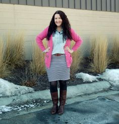 Just Another Smith: #18 - pink boyfriend cardigan, chambray popover, cognac belt and boots, black/white striped skirt