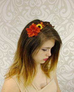 Autumn Flower Headband, BOHO Headband, Rustic Fall FLower Headband, Orange and Brown, Feather, Mori Kei, Rustic, Lolita, Fall leaves by RuthNoreDesigns on Etsy