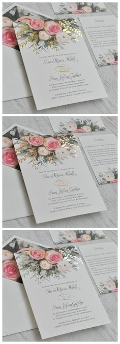 An ethereal illustration of watercolor roses in pink creates the peaceful nature of these beautiful garden wedding invitations. Your choice of gold, rose gold or silver foil stamping takes it to the next level. 100% beautiful invitation!