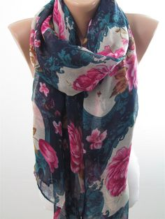 SOFT Cotton Scarf Floral Scarf Shawl Infinity Scarf Circle Scarf Women Cowl Scarf Women Fashion Accessories Holiday Christmas Gifts For Her by Derins on Etsy https://www.etsy.com/au/listing/210928557/soft-cotton-scarf-floral-scarf-shawl