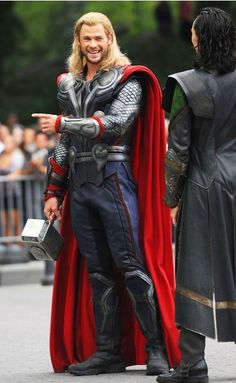 """Chris Hemsworth. I can just see him start going into character as a joke """"No, Brother, our departure can wait. I want to try this thing they call Shawarma."""" Tom: """"You're still in character aren't you, Chris?"""""""