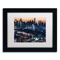 David Ayash 'Midtown and The Queensborough Bridge' White Matte, Framed Wall Art