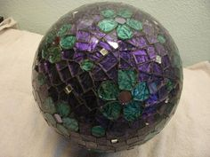 Stained Glass Mosaic Bowling Ball Art in Purple by twillobee