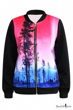 27b4fc52dad24 Red amp Blue Beautiful Forest Print Baseball Jacket  baseballjackets   backyardbaseball Coats For Women