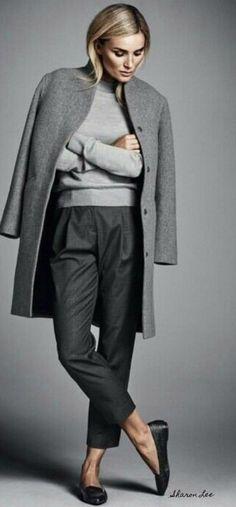 Ways To Wear Grey and outfit ideas - - Minimal Classic Grey Women's Winter Chic Street Fashion - Fashion Mode, Work Fashion, Fashion Trends, Street Fashion, Luxury Fashion, 50 Fashion, Womens Fashion, Trendy Fashion, Latest Fashion