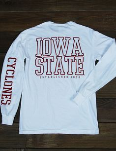 Enjoy this classic Iowa State Comfort Colors long sleeved t-shirt all fall and winter. It is perfect for game day or hanging out around campus. Go Cyclones!