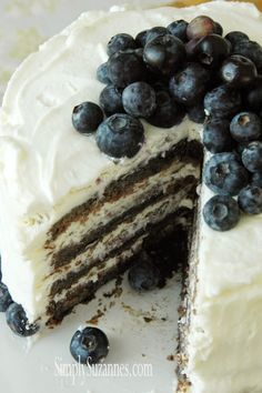 Simply Suzanne's AT HOME: blueberry cake with lemon whipped cream frosting