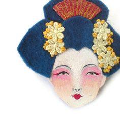 Oriental Girl Felt Brooch Felt Brooch Fabric brooch Art by yalipaz