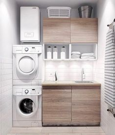 Best 20 Laundry Room Makeovers - Organization and Home Decor Laundry room decor Small laundry room organization Laundry closet ideas Laundry room storage Stackable washer dryer laundry room Small laundry room makeover A Budget Sink Load Clothes Modern Laundry Rooms, Laundry In Bathroom, Basement Laundry, Laundry Area, Bathroom Small, Bathroom Modern, Laundry Closet, Laundry Room Small, Feminine Bathroom