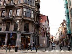 comic strip wall mural Comic strip wall mural in Brussels. Stripped Wall, Brussels, Comic Strips, Wall Murals, Wander, Street View, Sky, Cars, Wallpaper Murals
