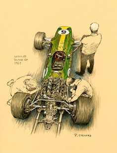 """Lotus 49 – Dutch Grand Prix – 1967 Mechanics work on Graham Hills Lotus before the 1967 Dutch Grand Prix, while Colin Chapman waits patiently to hatch it to to the world. Jim Clark won driving the #5 Lotus 49, the inaugural F1 race for the car. Hill retired in the race. Pen&ink, white Prismacolor and markers on coloured paper 12""""x 9"""" © Paul Chenard 2010"""